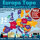 EUROPA Karte Topo Höhenlinien microSD Outdoor...